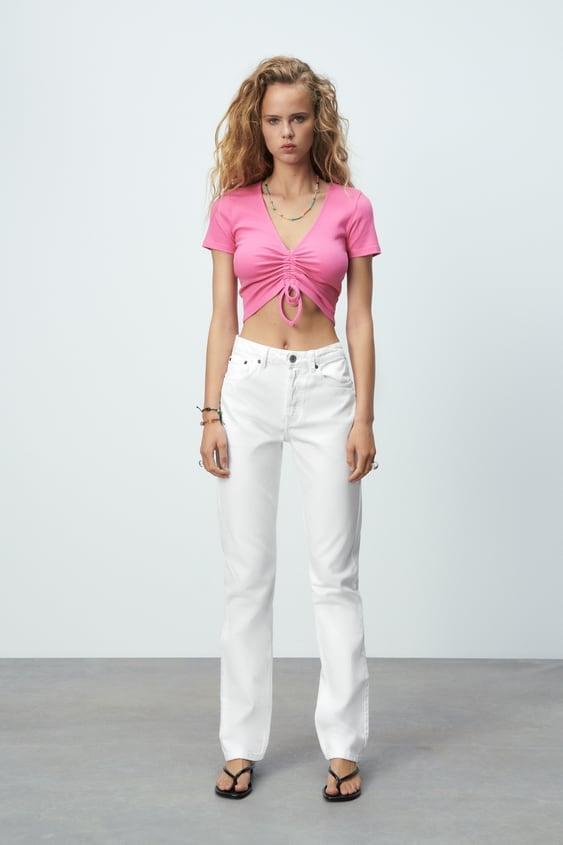 Zara Ribbed Top With Gathered Detail