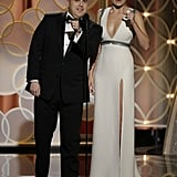 Margot Robbie took centre stage at the Golden Globes with her The Wolf of Wall Street co-star Jonah Hill as they fumbled through a teleprompter failure.