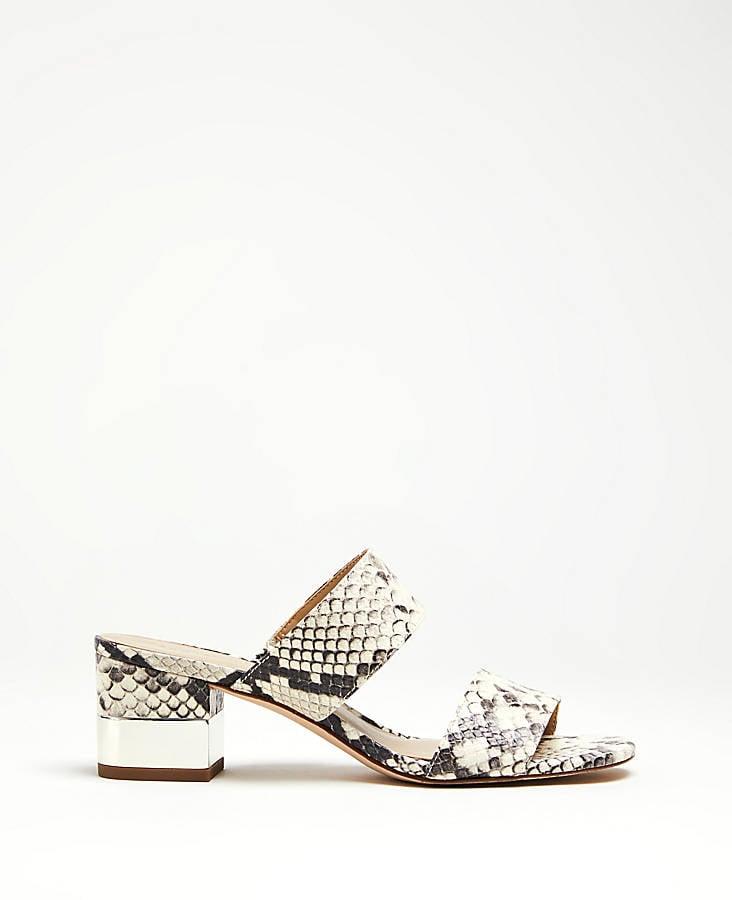 Ann Taylor Liv Snakeskin Print Block Heel Leather Sandals
