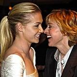 Portia de Rossi and Ellen DeGeneres locked gazes at a January 2005 Golden Globes bash.