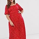 ASOS Design Curve Prairie Plisse Maxi Dress With Tiered Hem