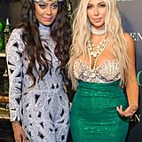 Kim Kardashian dressed up as a blond-bombshell-turned-mermaid, combining a bejeweled (and shell-clad) bustier with a serious fit-and-flare hem to get the look.