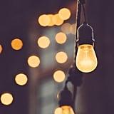 Hanging string lights inside.
