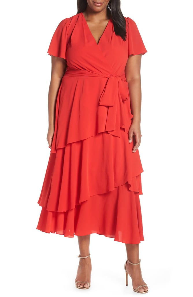 Tahari Tiered Faux Wrap Crepe Dress