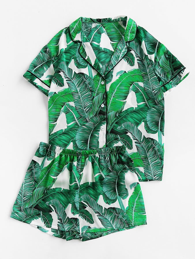 2ad0d44123 Shein Palm Leaf Print Revere Collar Pajama Set | Pajama Gifts for ...