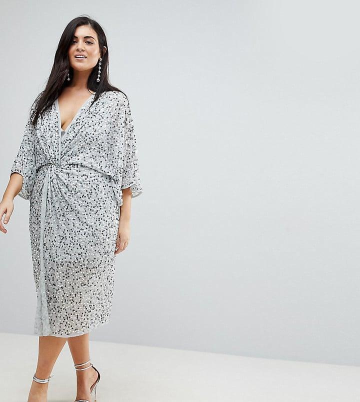 Asos Sequin Kimono Midi Dress Plus Size Engagement Dresses