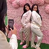 Kylie Jenner Silk Pajamas at Baby Shower