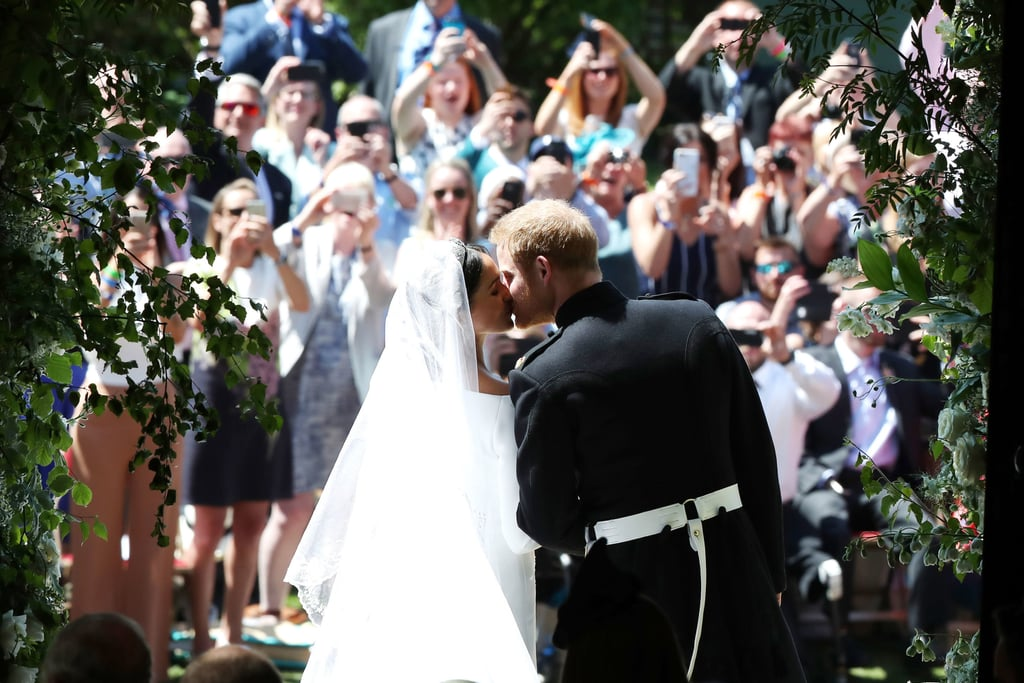A lot has changed for Prince Harry and Meghan Markle since they got married on May 19, 2018. Since tying the knot at St. George's Chapel in England, the couple has become parents to baby Archie, decided to step back as senior members of the royal family, and began focusing on organizations that are close to their hearts. Over the course of their marriage, though, one thing has remained: their unwavering love for each other. In honor of the couple's upcoming wedding anniversary on May 19, we're looking back at the best photos from their royal nuptials, from the sweet moment between Harry and Meghan at the altar to their first kiss as a married couple. Look back at the best 100 photos ahead!       Related:                                                                                                           Everyone Else Can Go Home Now, Because 2019 Belongs to Prince Harry and Meghan Markle