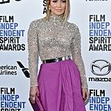 Jennifer Lopez's Blonde Lob in February 2020