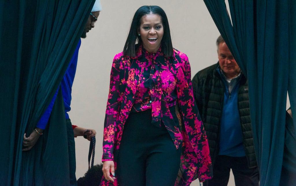 Michelle Obama's Pink Floral Blouse December 2016