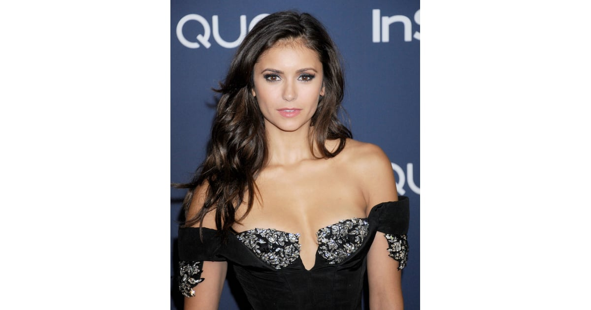 nina dobrev mixes many tones of brown to achieve her dark