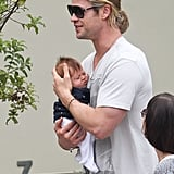 Chris Hemsworth held baby India while leaving Kafe K in Santa Monica, CA.