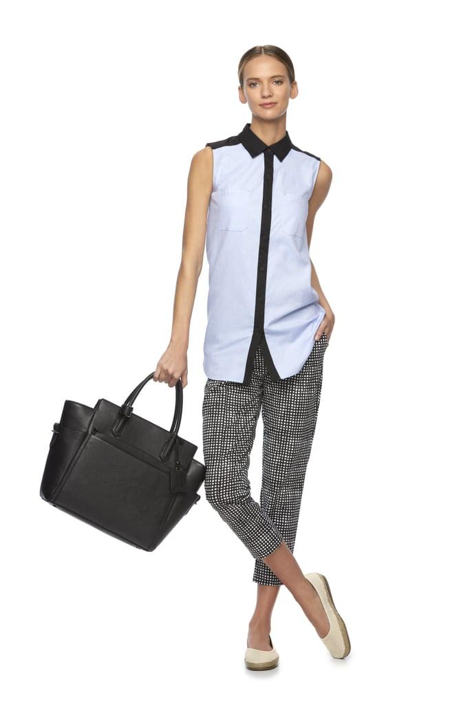 Colorblock Sleeveless Shirt ($50), Gingham Capri Pants, and Atlantique Satchel ($129)