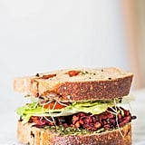 Beet and Sweet Potato Fritter Sandwich