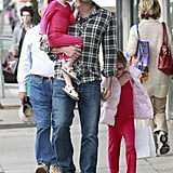 Ben Affleck held hands with Violet Affleck while Seraphina Affleck was in his arms for a shopping trip in LA.