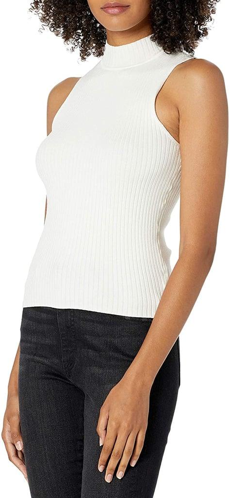 The Drop Karolina Sleeveless Mock Neck Rib Sweater