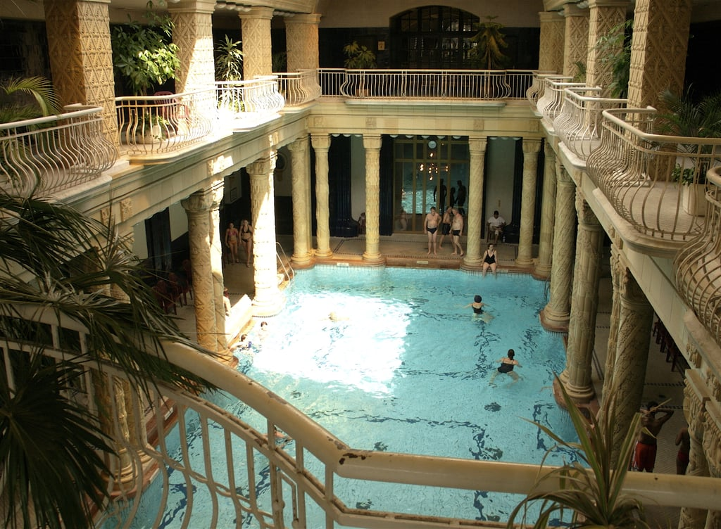 Relax at the famous Gellért Baths in Budapest, Hungary.