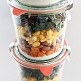 Squash, Pinto Bean, Corn, and Kale Mason Jar Salad