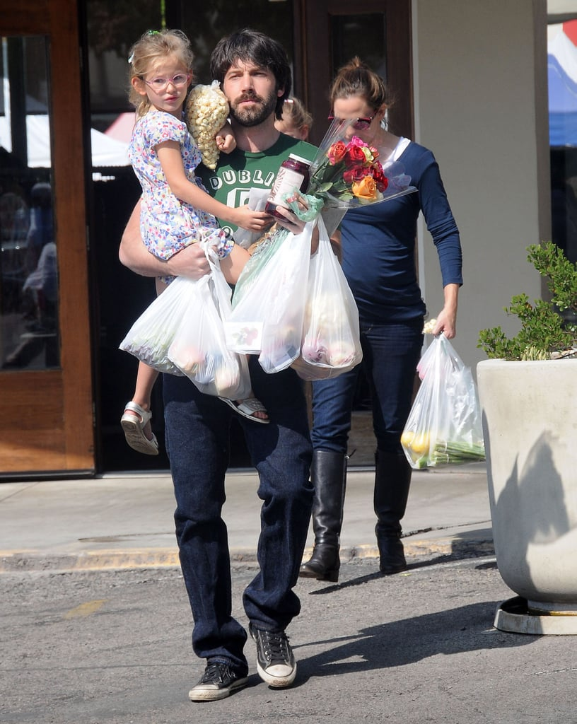 Ben and the girls loaded up on groceries.
