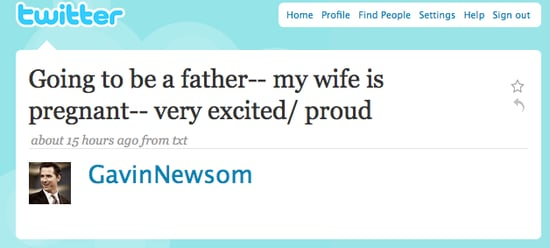 Briefing Book! SF Mayor Newsom Twitters Pregnancy News