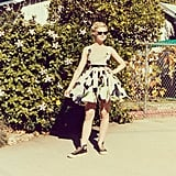 Elle Fanning mixed a flirty floral dress with cool Converse sneakers.  Source: Instagram user elle_fanning