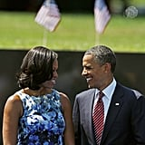 The Obamas smiled at each other during a Memorial Day event in Washington DC.