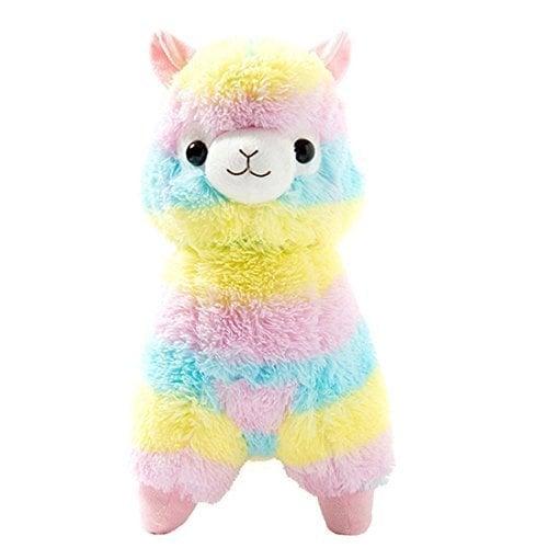 AngelGift Cuddly Llama Rainbow Alpaca Doll