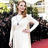 It was only fitting that Jessica Chastain wore Elizabeth Taylor's jewels to the anniversary premiere of Cleopatra.