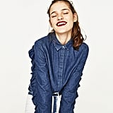 Zara Denim Shirt With Frilled Sleeves