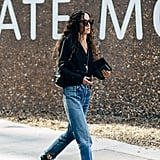 A Cardigan and Distressed Jeans Is Simple, but Embellished Slides With Edge Are a Surprise