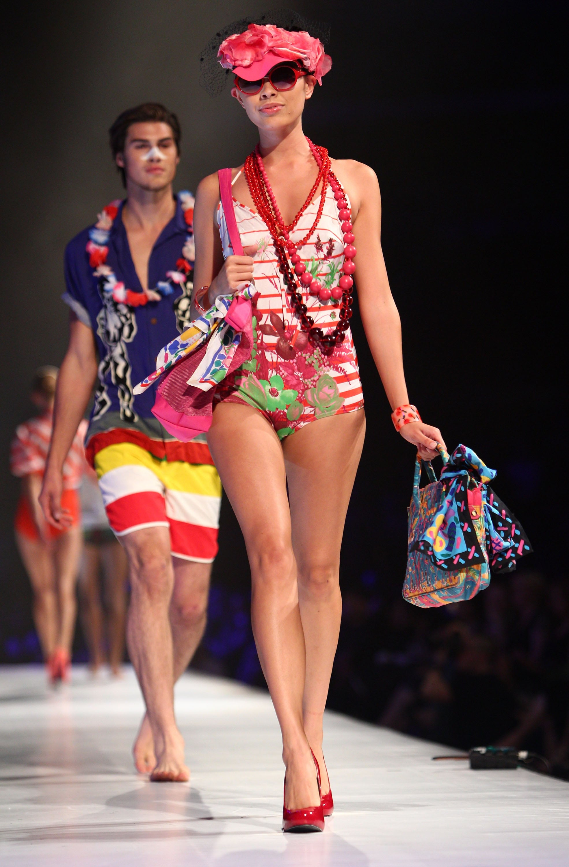 Colourful swimwear creations stood out on the runway.