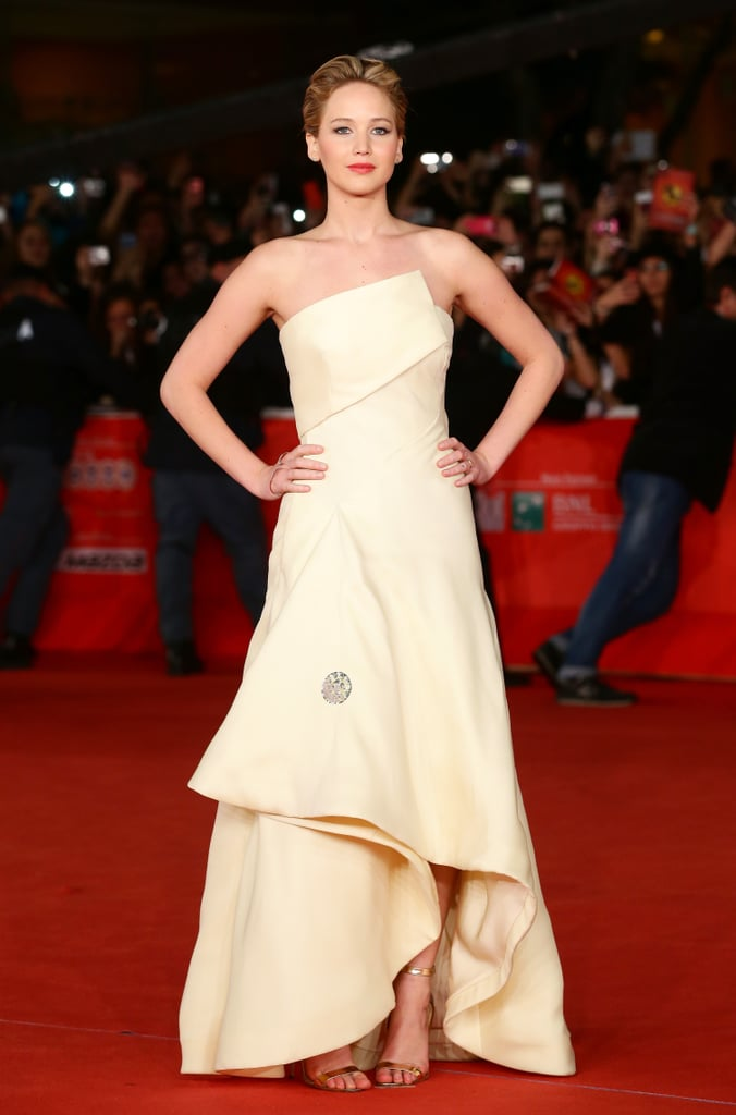 Jennifer Lawrence brought the glamour in a Dior Haute Couture gown at the Rome premiere of Catching Fire.