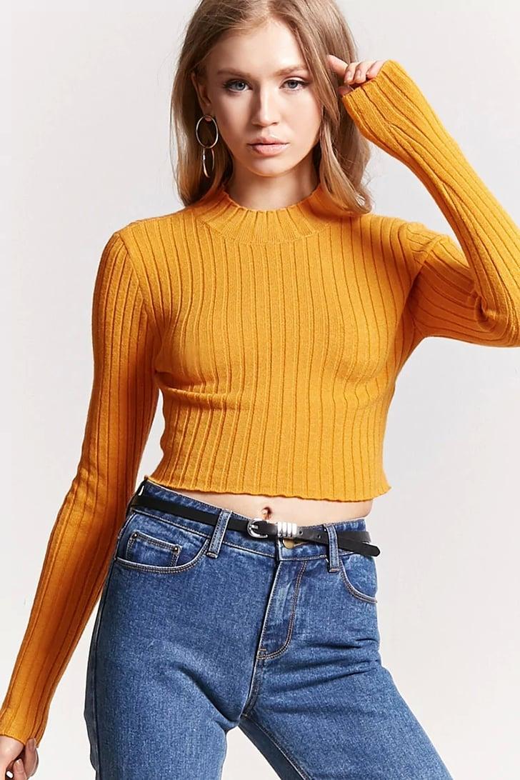 Forever 21 Cropped Mock Neck Sweater | Selena Gomez ...