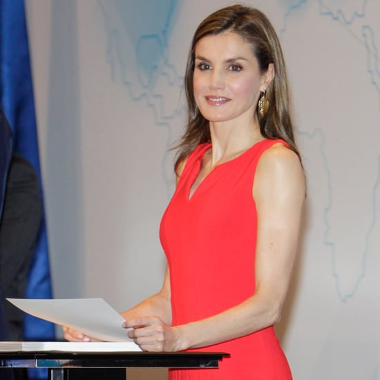 Queen Letizia in Hugo Boss Red Dress May 2017