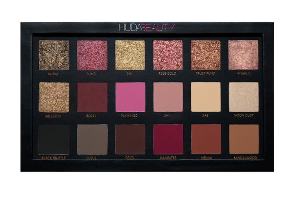 """I literally dreamed about the colors in this palette, and it's finally come to life! Consider it a whole wardrobe for your eyes, no matter what the mood or occasion. It's a timeless palette that has literally all the colors and textures that you need, this is a great gift for anyone who loves makeup!""   Huda Beauty Rose Gold Textured Shadows Palette  ($65)"