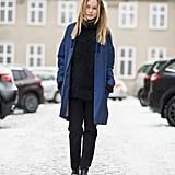 All black, coupled with a printed blue coat and minimalist chain-adorned booties might be the quickest way to a chic Winter style moment.  Source: Le 21ème | Adam Katz Sinding