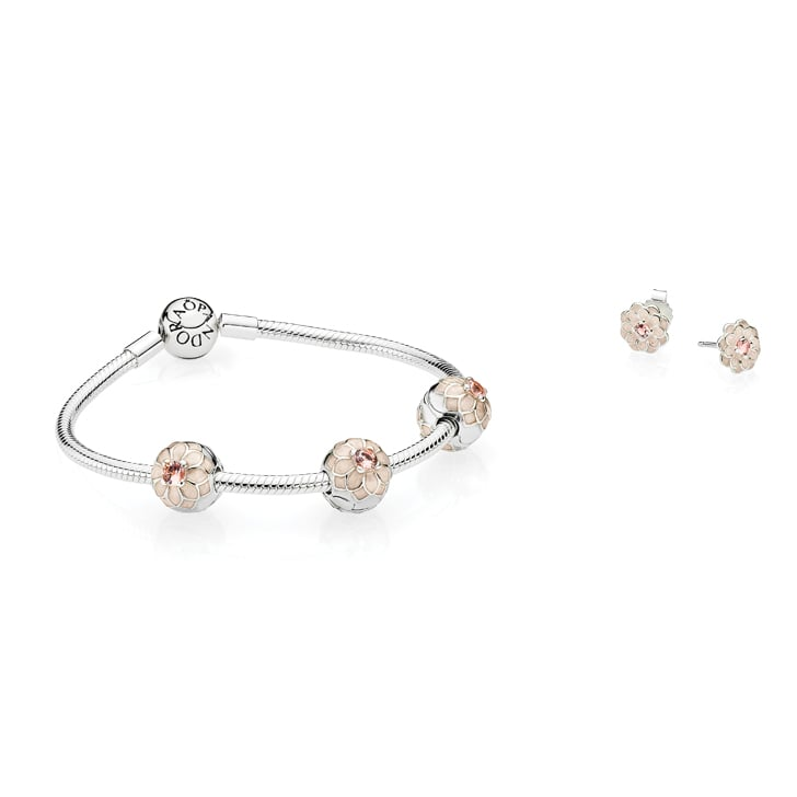 Moments Smooth Clasp Bracelet, $89, Blooming Dahlia Clips, $69 each, and  Blooming