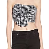 Socialite Twist Front Gingham Crop Top