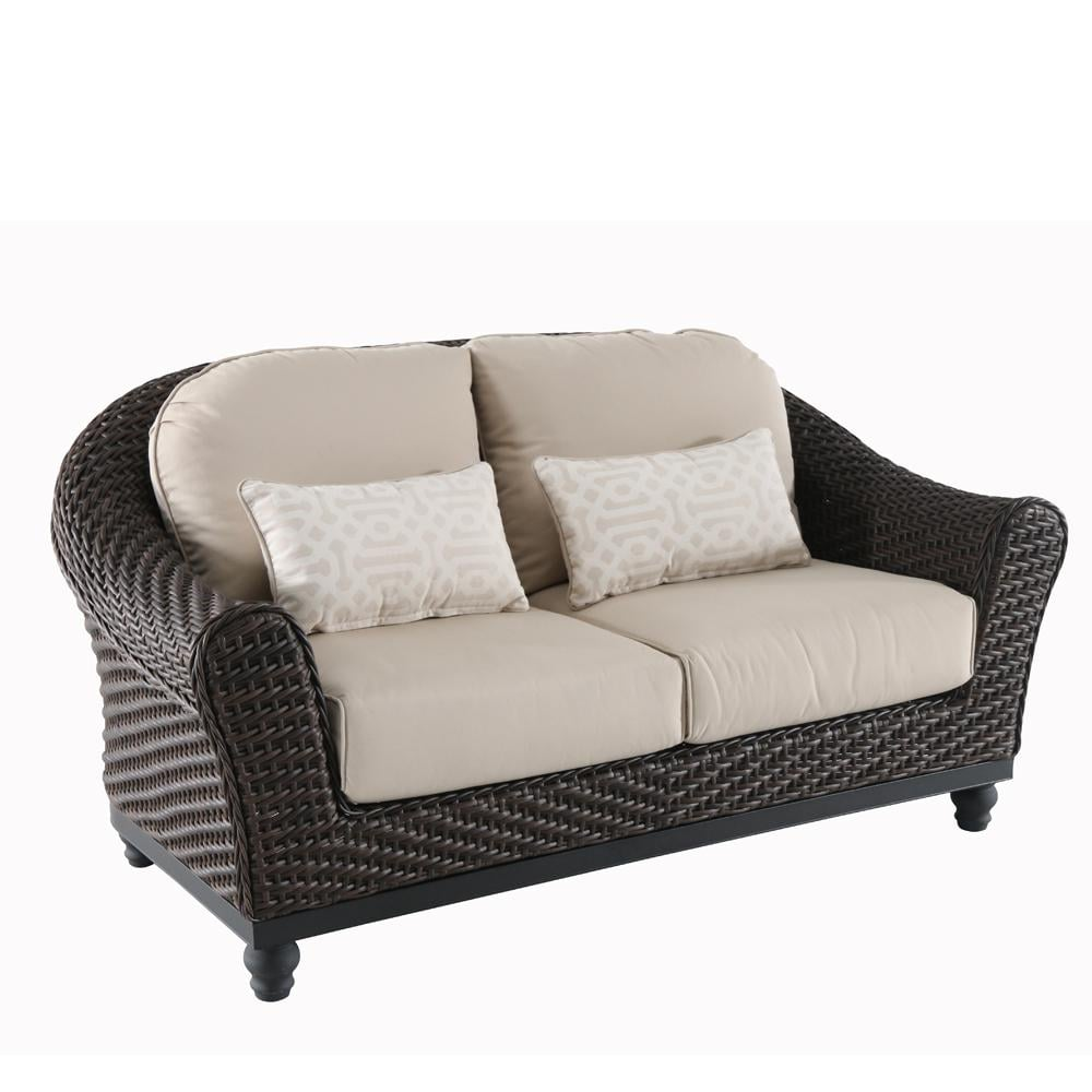 Camden Wicker Outdoor Loveseat With Sunbrella Fretwork Cushions