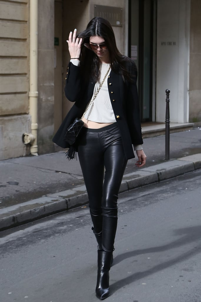 Kendall was seen leaving the Chanel office during Paris Fashion Week.