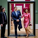 Queen Máxima and King Willem-Alexander at the Alte Pinakothek Museum in Munich, Germany.