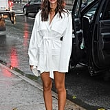 Emily Ratajkowski Wearing a White Dress and Mules in NYC