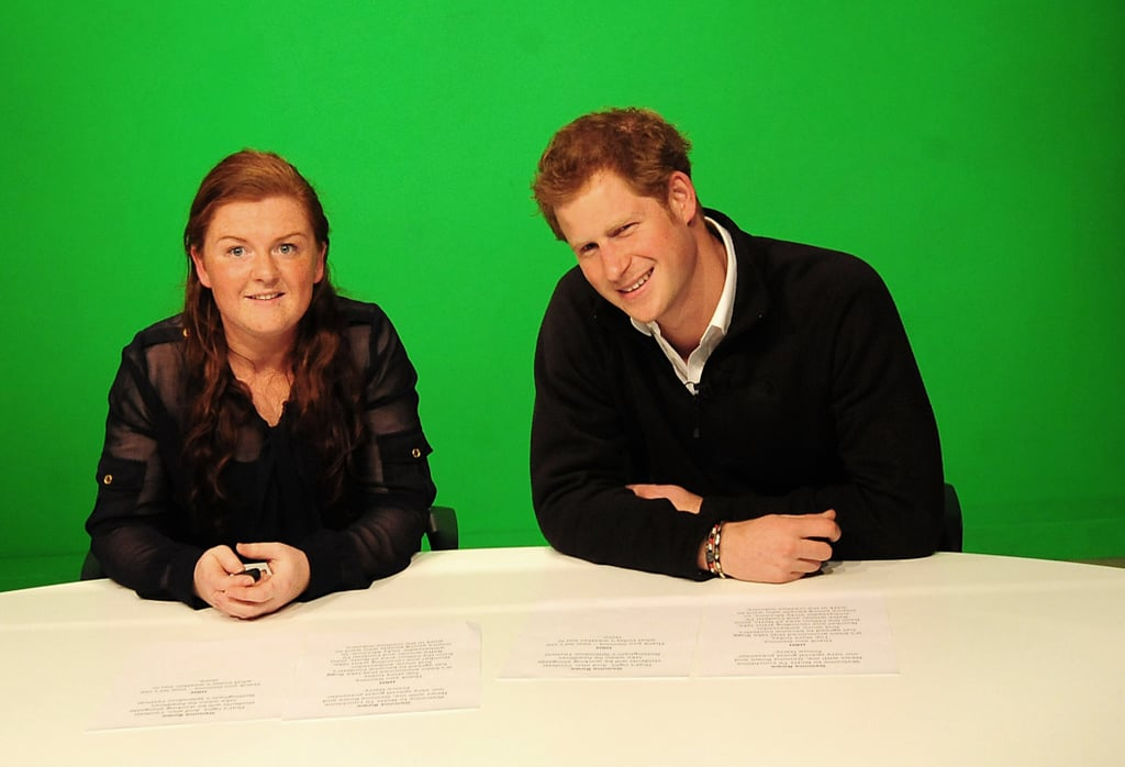 Prince Harry sat down with a student at the Confetti Institute of Creative Technologies before presenting an in-house TV show.