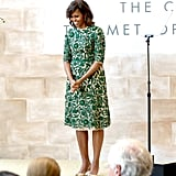 Wearing Naeem Khan to celebrate the Anna Wintour Costume Center grand opening at the Metropolitan Museum of Art in May 2014.