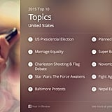 The top 10 topics in the US, very similar to the global list.