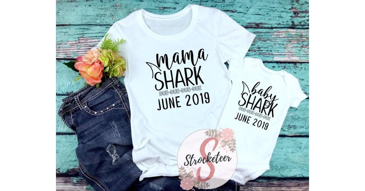 06870cd0 Mama Shark and Baby Shark Tee Bundle   Baby Shark Pregnancy Announcement  Onesies and Shirts   POPSUGAR Family Photo 4