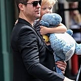Robin Thicke and his son, Julian, left their NYC hotel on Friday.