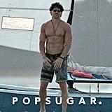 Joe Manganiello went shirtless on the beach while filming in Tybee Island, GA.