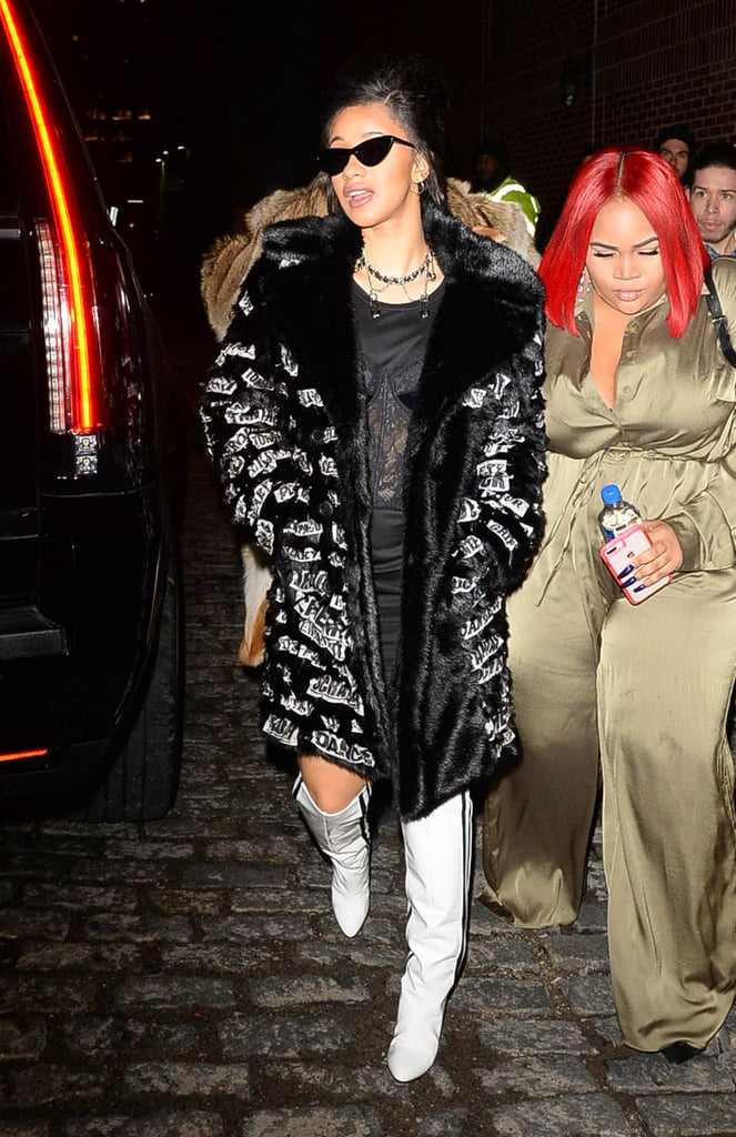 Wearing Jeremy Scott to the designer's fashion show in New York.