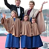 The Dutch royal family waved together.